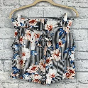 Joe B Bennassett Striped Floral Paperbag Shorts 9